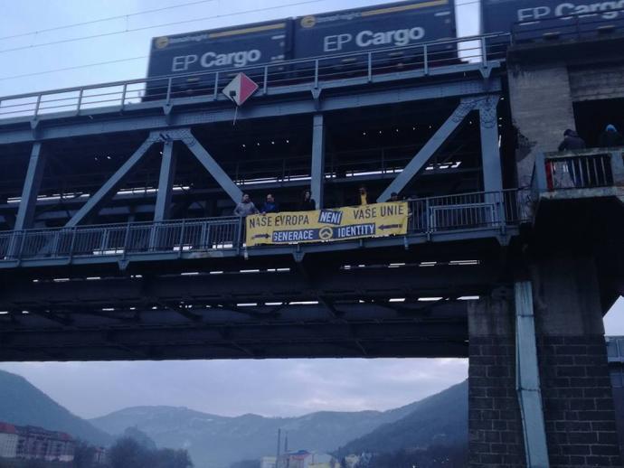 """Transparent """"Naše Evropa není vaše Unie"""", 20. ledna 2018, Ústí nad Labem"""