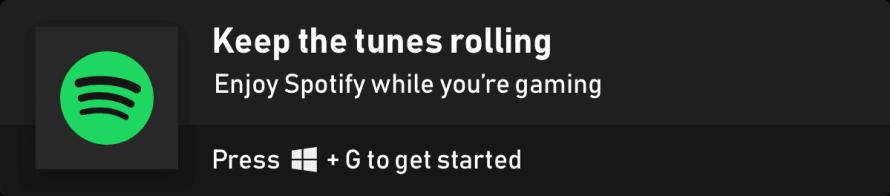 Widget de Spotify en al Barra de Juego de Windows 10