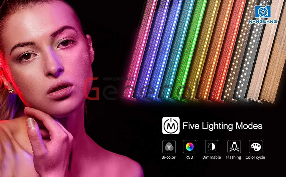 NanGuang RGB88 Adjustable Bicolor Tuneable RGB Dimmable Hard and Soft Light AC/Battery Powered LED Light Painting Wand with Color Cycle and Lighting Effect Modes
