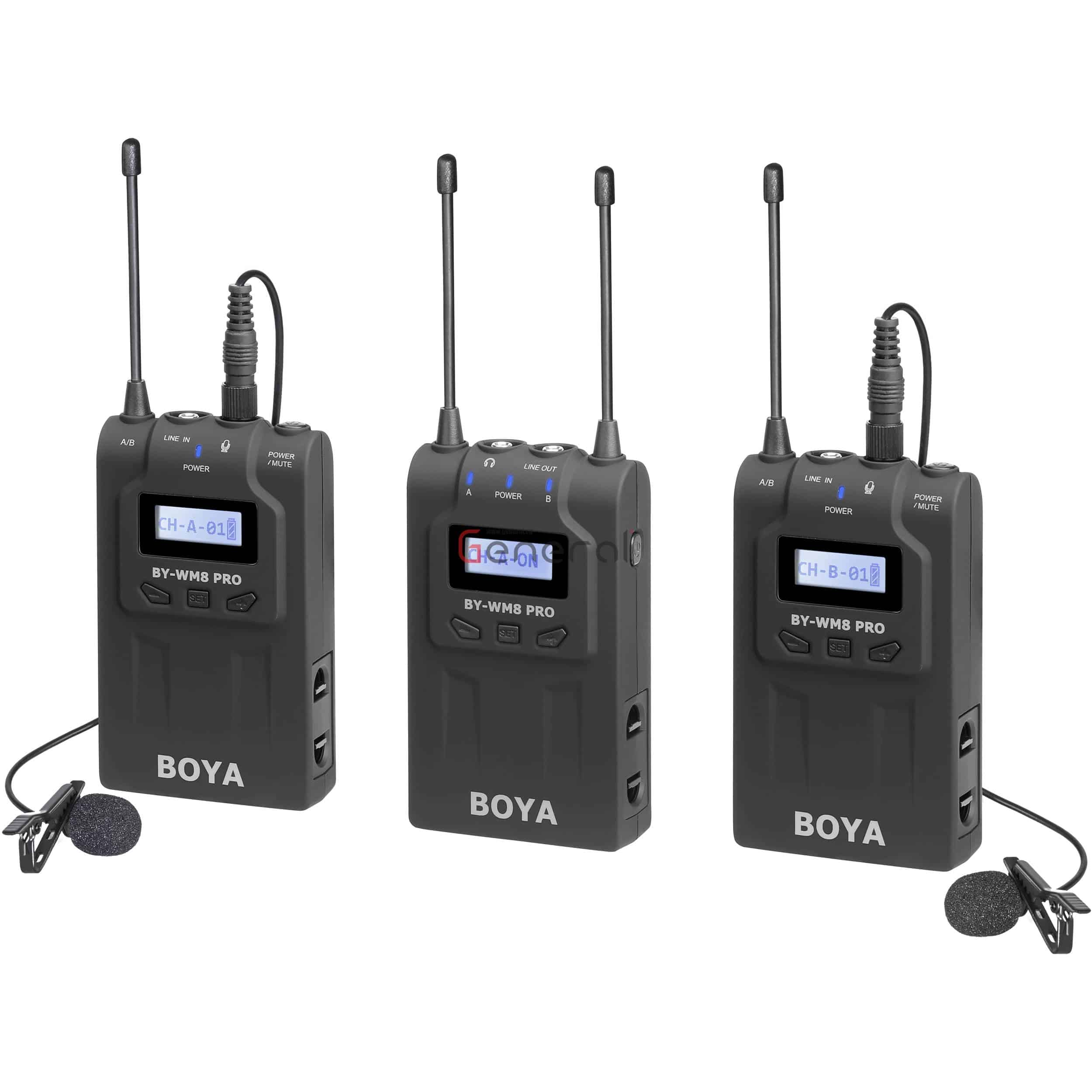 BOYA by-WM8 Pro-K2 UHF Dual-Channel Wireless Microphone System Receiver+Transmitter A+Transmitter B with LCD Display Screen Compatible with Canon Nikon DSLR Camera Camcorder with Cleaning Cloth