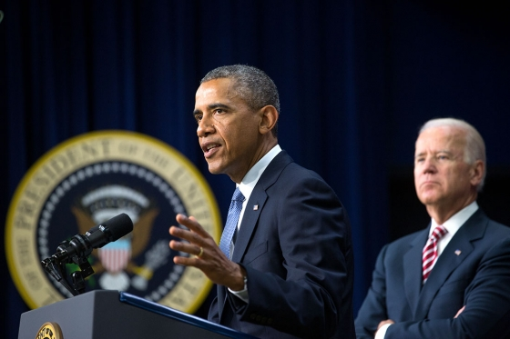 President Barack Obama, with Vice President Joe Biden, delivers remarks on job training before signing H.R. 803, the Workforce Innovation and Opportunity Act, in the Eisenhower Executive Office Building South Court Auditorium, July 22, 2014. (Official White House Photo by Amanda Lucidon)