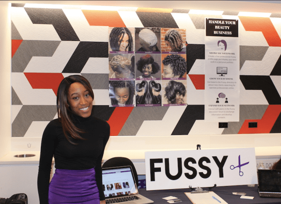 Patrice Peck, Founder of Fussy.me, presents at PTECH, a high school in Brooklyn, NYC.