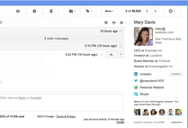 Rapportive Chrome Extension for Gmail