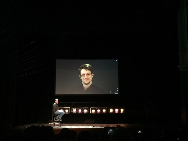 Edward Snowden joined remotely to a mixed, but mostly positive, audience reaction