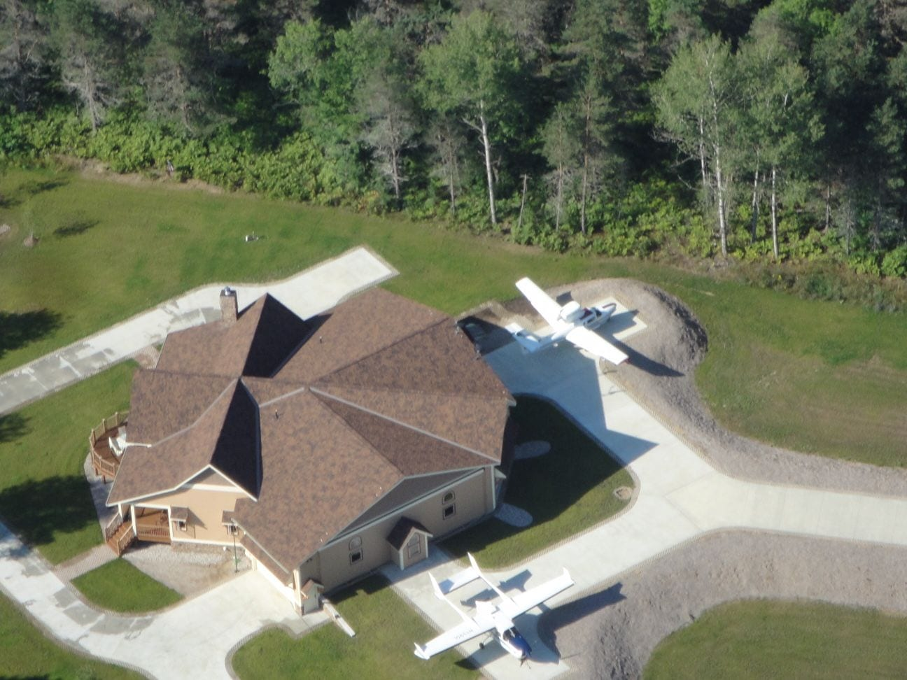 An aerial view of the star-shaped home.