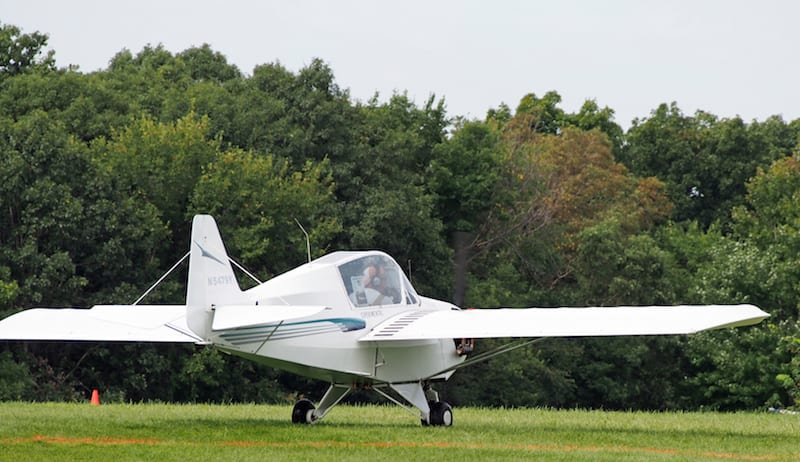 Note the strut-braced midwing design, with enclosed canopy.