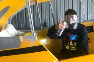 James in his natural habitat. Yeah, he's smiling under that respirator.
