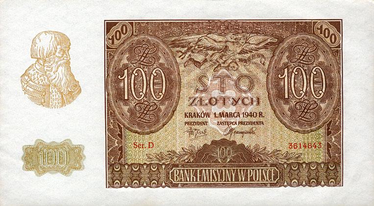 Generalne Gubrnatorstwo banknot 100 złotych 1940 r.