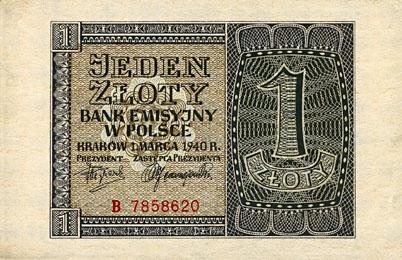 Generalne Gubrnatorstwo banknot 1złoty 1940 r.