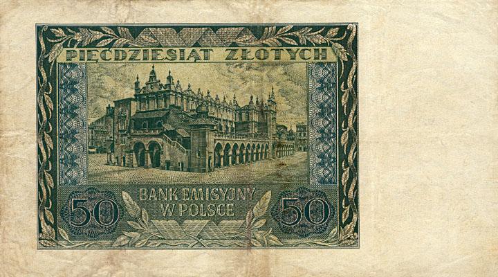 Generalne Gubrnatorstwo banknot 50 złotych 1940 r.