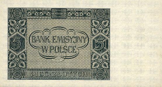 Generalne Gubrnatorstwo banknot 5 złotych 1940 r.