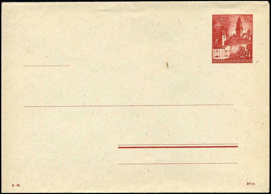 Całostka koperta Ck. 2 sygn. X.43 Ganzsache Umschlag U2/3