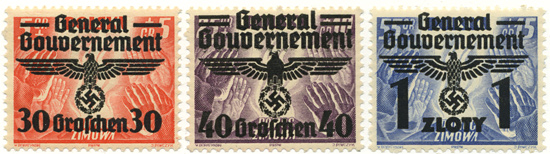Przedruki na znaczkach z serii Pomoc Zimowa z 1938r.