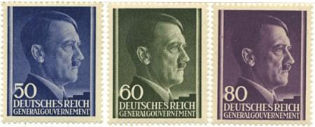 Seria 110-112 1943, czerwiec. Wydanie obiegowe z portretem Hitlera na jednolitym tle