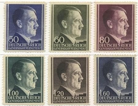 Seria 83-88 1942, 7 kwietnia. Wydanie obiegowe z portretem Hitlera na siatkowanym tle
