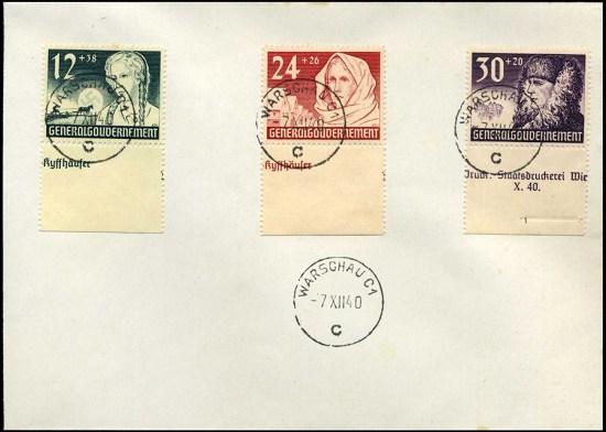 Koperta ze znaczkami Generalnego Gubernatorstwa Mi. 56-58 1940