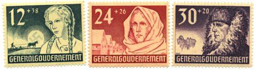 Znaczki GG Seria Fi. 56-58 1940 r. czyste ** MNH-0