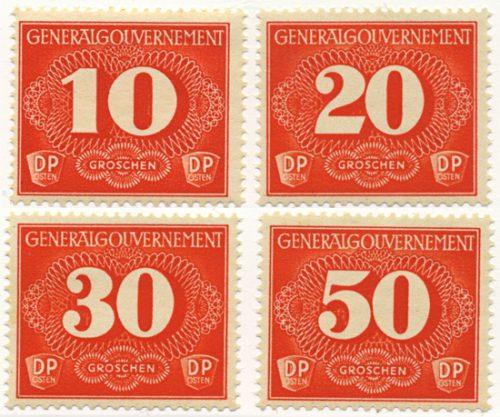 Znaczki GG Seria doręczeniowa Fi. D1-D4 1940 r. * MH-0