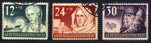 Znaczki GG Seria Fi. 56-58 1940 r. kasowane-0