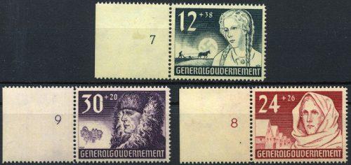 Znaczki GG Seria Fi. 56-58 1940 r. czyste ** z bocznym marginesem-0