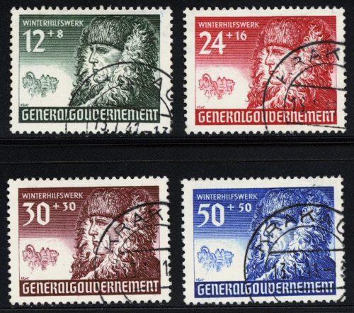 Znaczki GG Seria Fi. 59-62 1940 r. kasowane KRAKAU-0