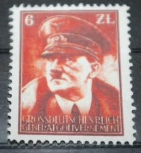 Znaczek fantazyjny - Gross Deutsches Reich Generalgouvernement 6zł z Adolfem Hitlerem