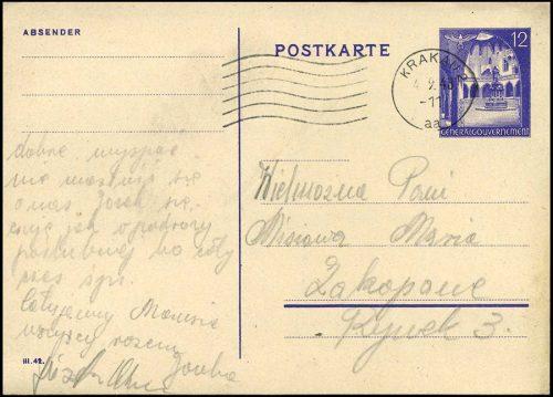 Generalgouvernement Całostka Cp. 9B z obiegu KRAKAU 2 - ZAKOPANE 1943
