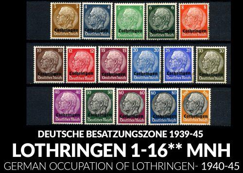 DEUTSCHE BESATZUNGSZONE - LOTHRINGEN Mi. 1-16 1940 MNH**