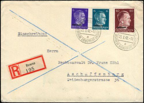DEUTSCHE DIENSTPOST UKRAINE - brief ROWNO / Równe / Рівне - Aschaffenburg 1942
