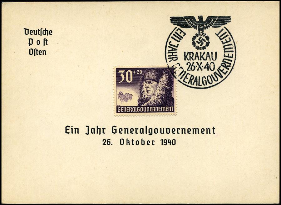 Kasownik okolicznościowy 6A Ein Jahr Generalgouvernement Krakau 26 X 1940