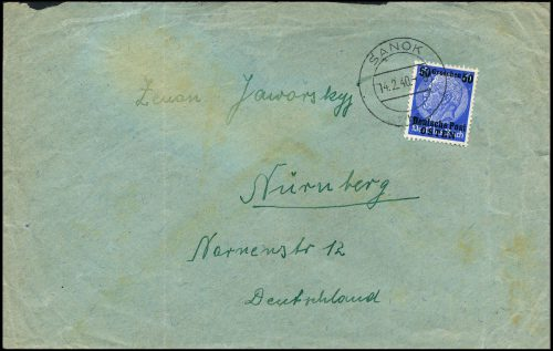 Generalgouvernement list SANOK -Nürnberg 1940