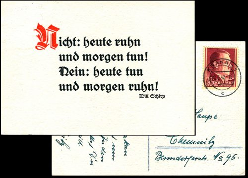 Generalgouvernement postkarte KRAKAU - Chemnitz Mi. 89 1942