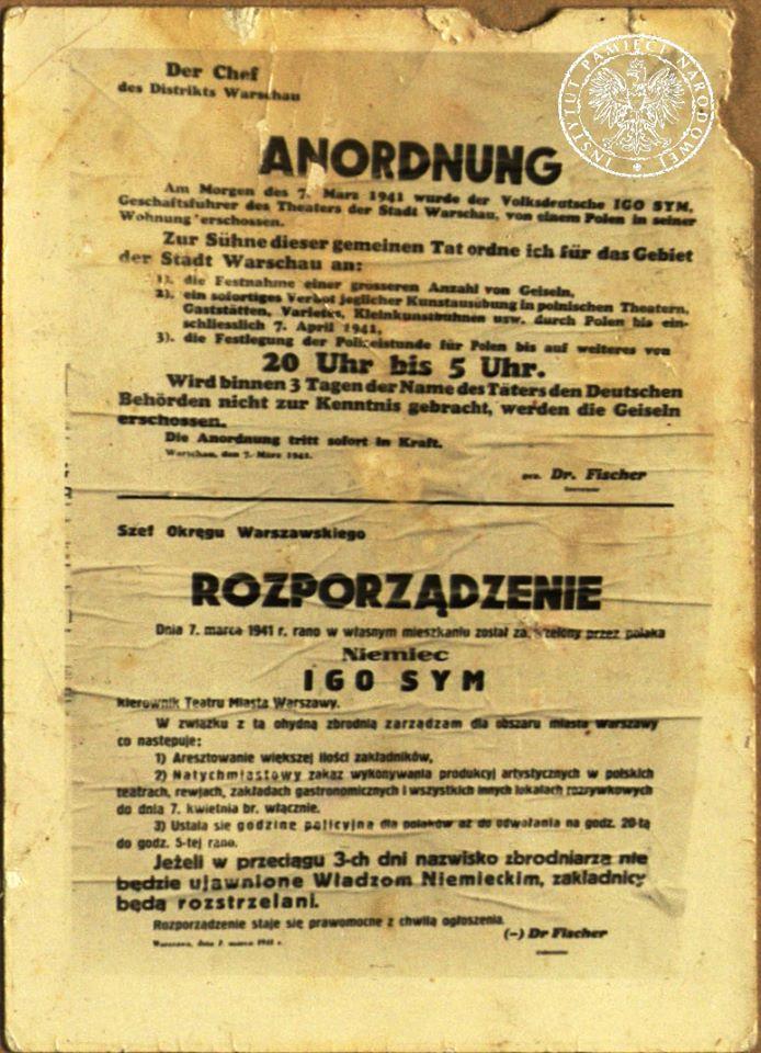 Obwieszczenie niemieckie po śmierci Igo Syma