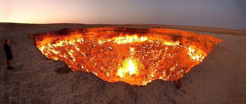 Darvaza gas crater on fire
