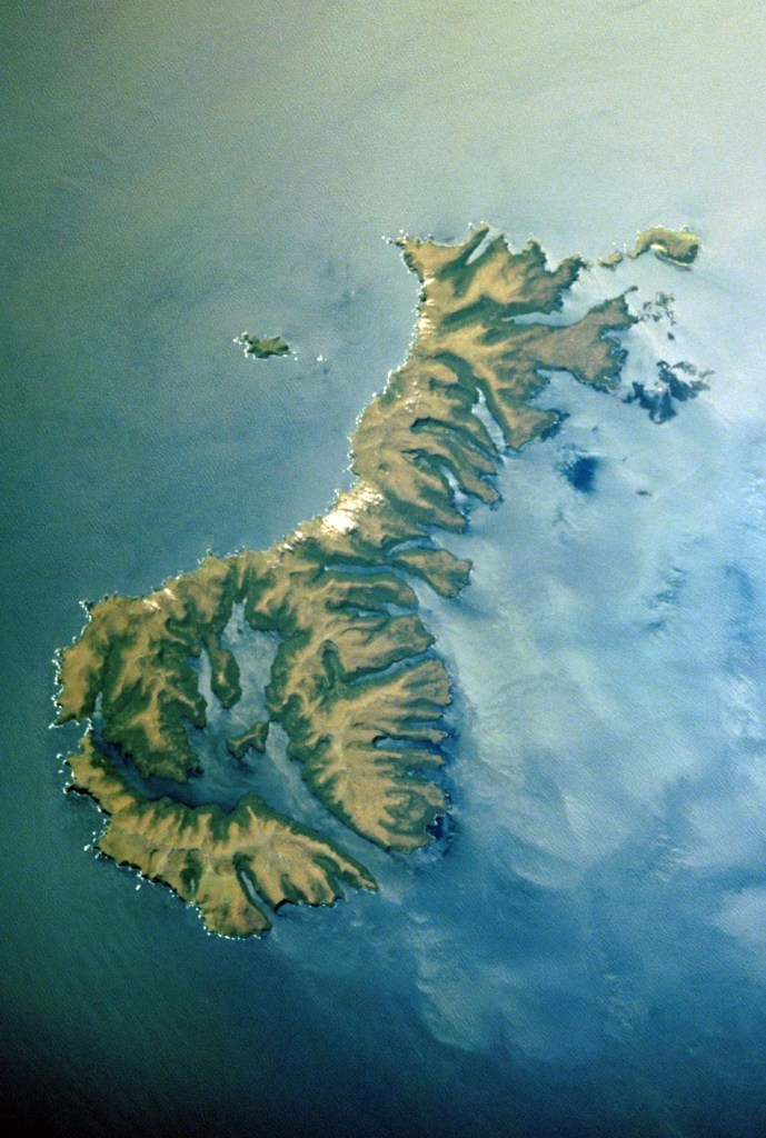 Satellite photo of the Auckland Islands