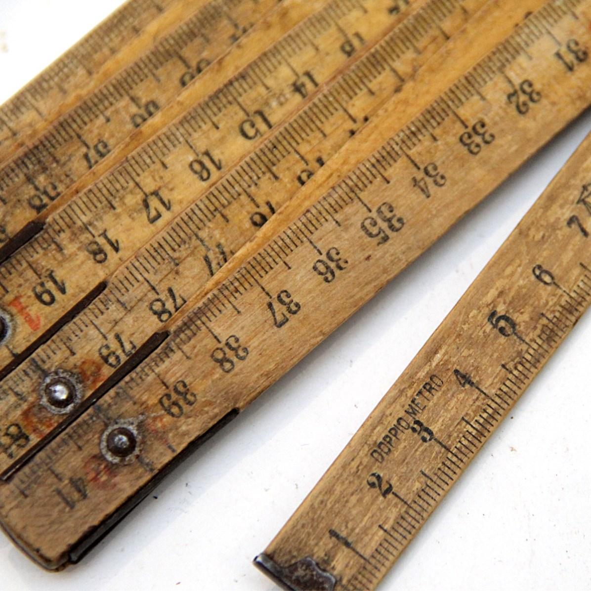 アンティーク 折りたたみ式フォールディングルーラーB 木製 定規(ものさし)
