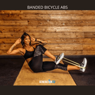 Performing Bicycle Abs With Resistance Bands