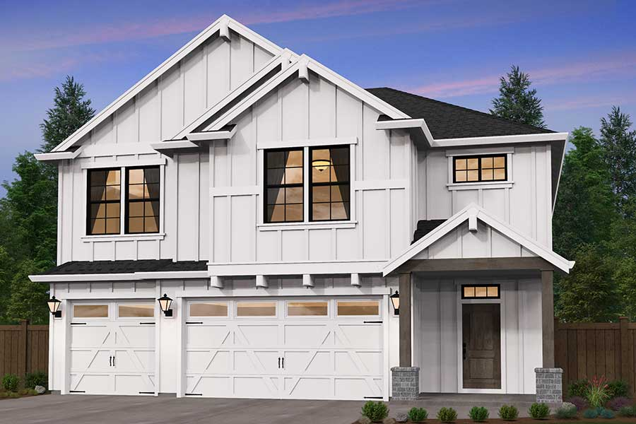 Image of a two story white how with a 3 car garage and a black roof