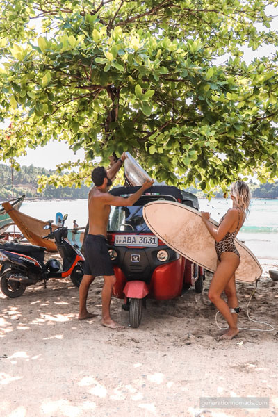 Going surfing with our Tuktuk