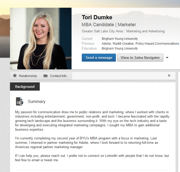 Example of a LinkedIn summary