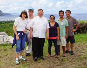 The GM photo crew, (L–R) Katherine, Fr. Pat, Fr. Bill, Imelda, Wilson and Brian at the Kauhako crater.