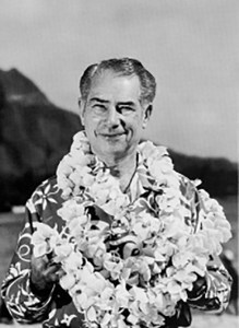 """Webley Edwards, produced and announced """"Hawaii Calls"""" live dance party, broadcast from the Moana Hotel."""
