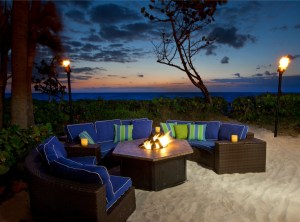 Jupiter Beach fire pit seating at night