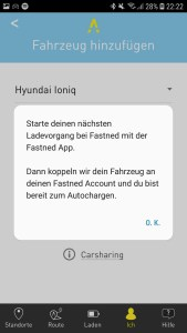 Fastned-App - Aktivierung Autocharge