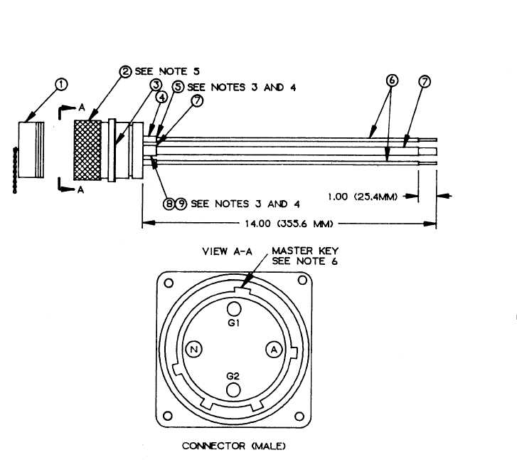 FIGURE F-10. 60-amp input connector assembly. (sheet 1 of 2)