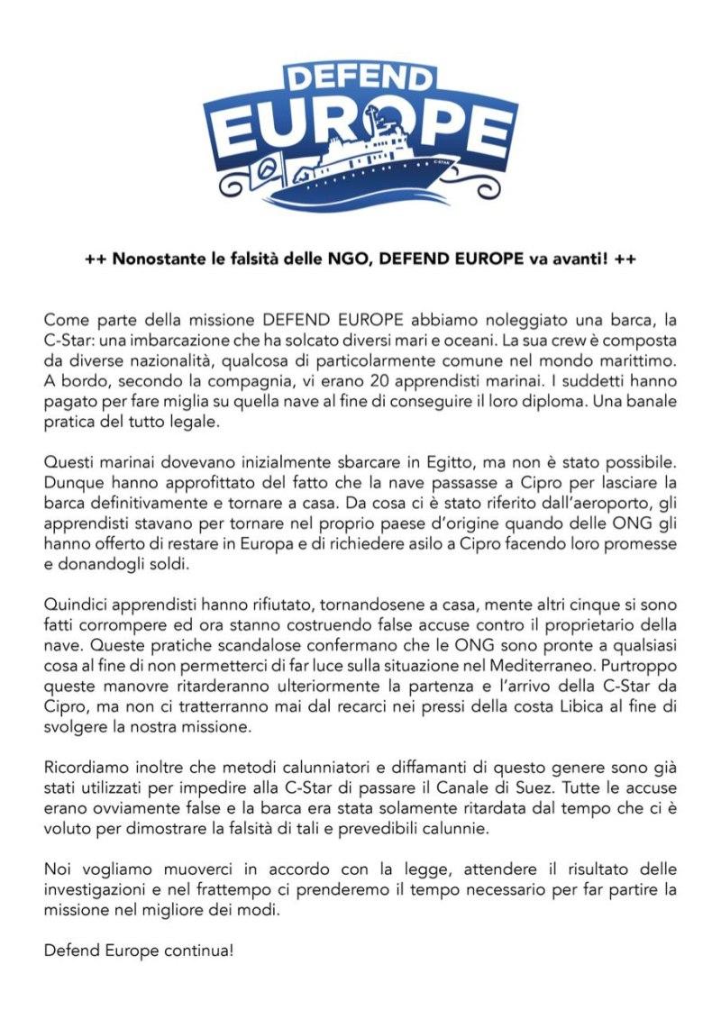 GID Defend Europe ONG immigrazione c-star comunicato