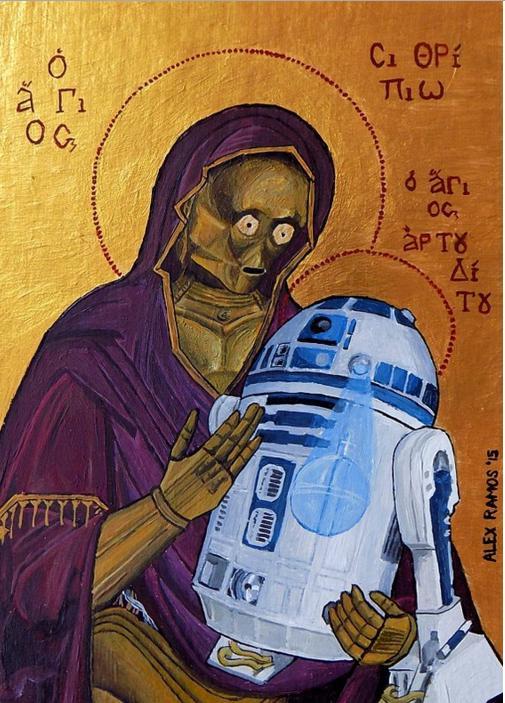 C-3PO in versione Madonna con bambino sull'icona simil-bizantina di Alex Ramos