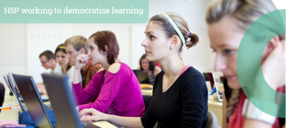 Classroom of people sat at desks with laptops in a lecture with the caption H5P working to democratise learning.