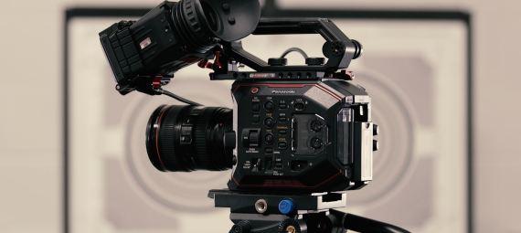 Close up of a video camera.