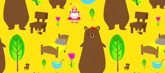 Montage featuring Goldilocks, three bears, chairs, porridge and beds.